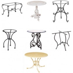 Tavoli in ferro battuto, ghisa, alluminio.