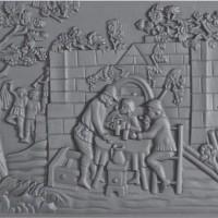 Lastra decorata in ghisa per rivestimenti caminetti caccia cm 60xh.60. PIAORN29