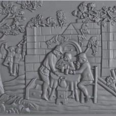 Lastra decorata in ghisa per rivestimenti caminetti caccia. PIAORN29
