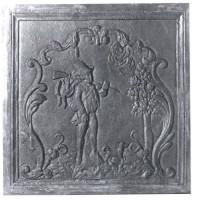 Piana o piastra ornata in ghisa per rivestimenti camino solitario cm 60x60. PIAORN34