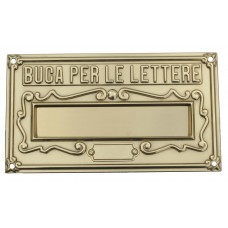 Feritoia o buca lettere in ottone lucido. ROMANS-L