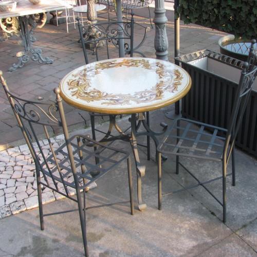 Basi In Ferro Per Tavoli Da Giardino.Completo Tavolo Da Giardino Terrazzo In Ferro Forgiato E Pietra