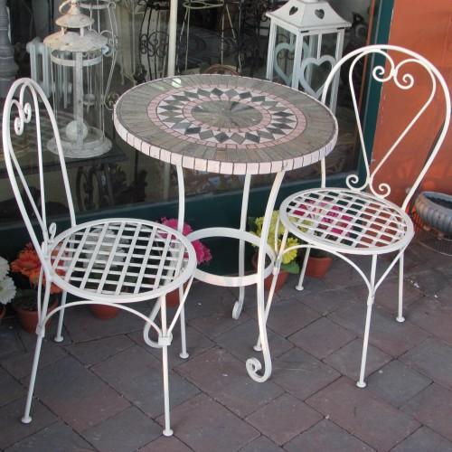 Tavoli Da Giardino In Ferro Battuto E Mosaico.Completo Tavolo Da Giardino Terrazzo Portico In Ferro E Piano In