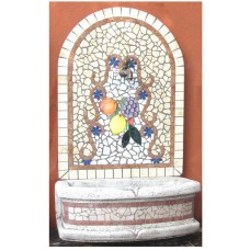 Fontana a parete mosaico frutti piccola