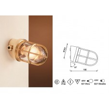 Lampada in Ottone Lucido con Griglia Art. 0751-2297