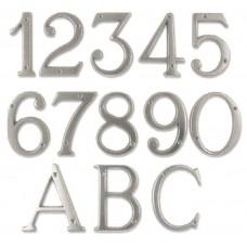Numeri civici e Lettere in ottone CROMATO h. cm 8