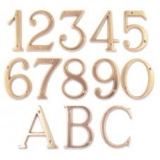 Numeri civici e Lettere in ottone LUCIDO h. cm 8