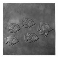 Piastra in ghisa decorata focolare pesci. Diverse misure
