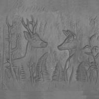 Piana o piastra decorata in ghisa per caminetto cerbiatti cm 60xh.60. PIAORN37