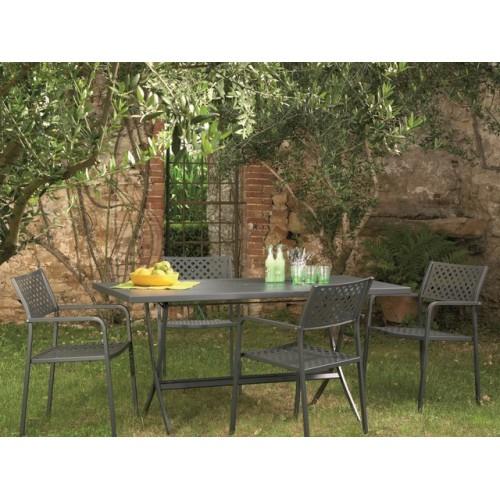 Tavolo in ferro pieghevole da esterno per giardino her 160x80 for Tavolo da esterno pieghevole