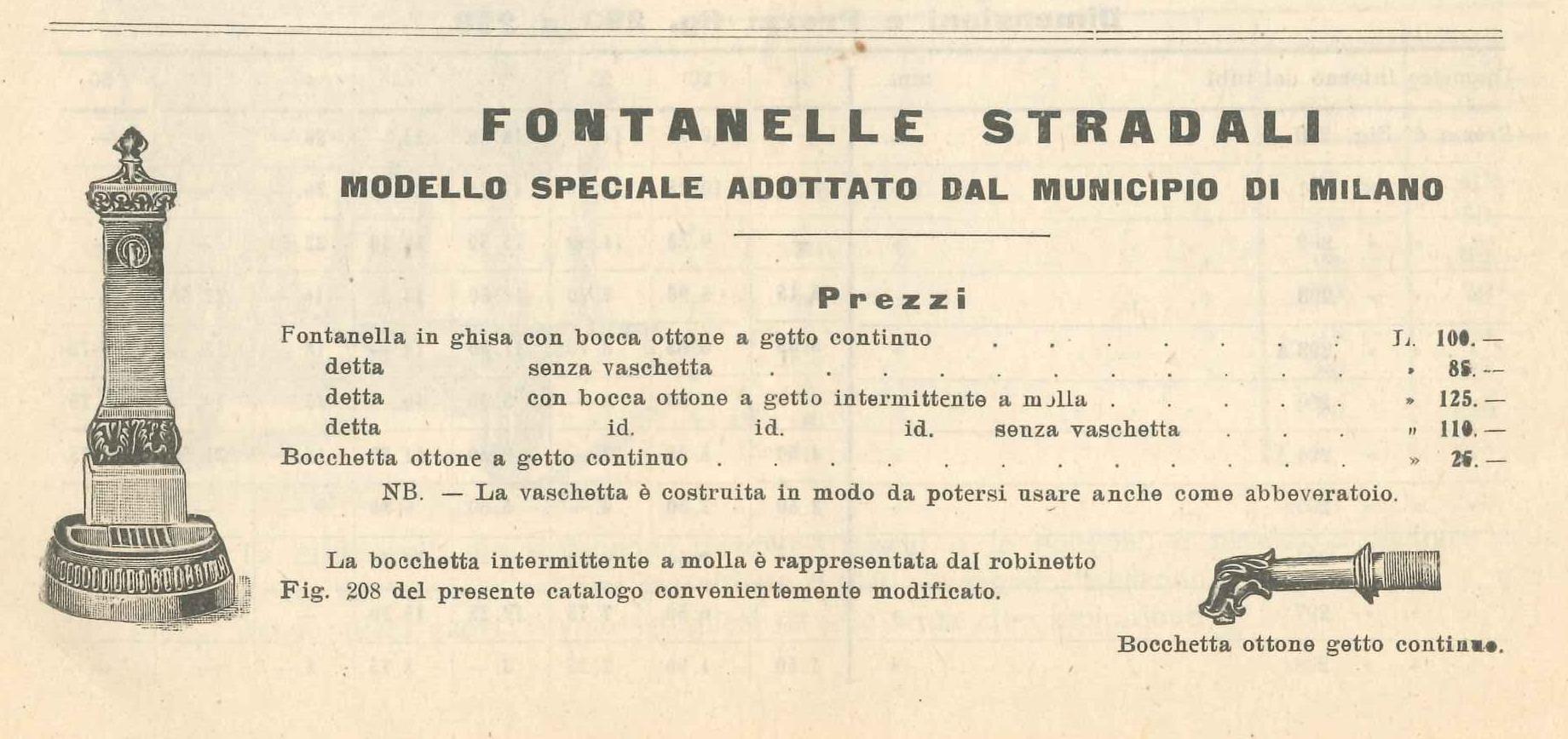 fontanella Milano o Vedovella ghisa catalogo anno 1898