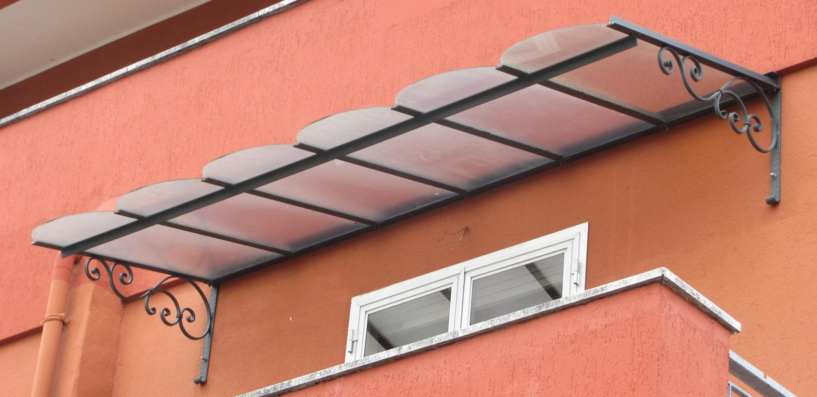 Conosciuto Copriporta o tettoia in ferro forgiato. Riccioli 200/300 x 120  ER43