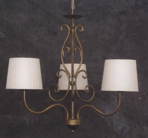 Lampadario con paralume in tela 3 luci Art. CFI-1260/3 - Fonderia ...