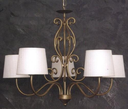 lampadario con paralume : lampadario-con-paralume-in-tela-5-luci-art-cfi-12605-finitura-oro ...
