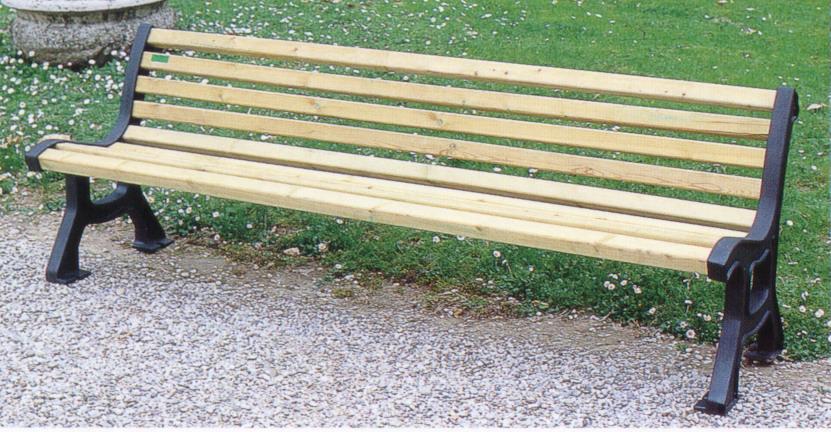 Panchina roma arredo urbano pino 4009 pino x fonderia for Arredo urbano in legno