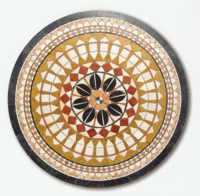 Piano mosaico circolare tavolo interno esterno r 15 - Mosaico per esterno ...