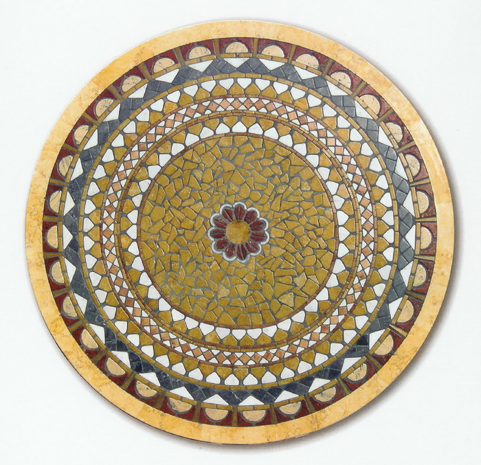 Piano mosaico circolare tavolo interno esterno r 19 - Mosaico per esterno ...