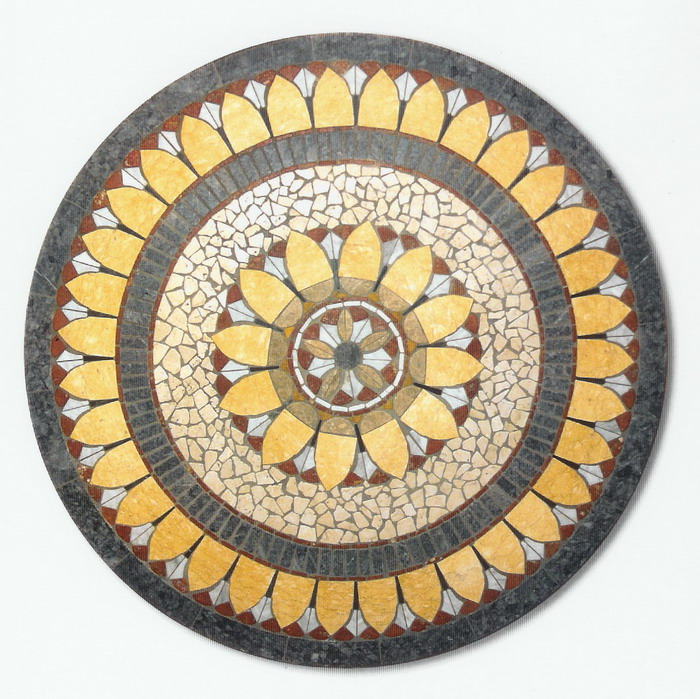 Piano mosaico circolare tavolo giardino casa r 31 - Mosaico per esterno fai da te ...